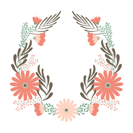 Flower wedding wreath, ornament concept for decorative greeting card or bitrhday invitation, design background. Vector element in pastel colors. Ilustrace