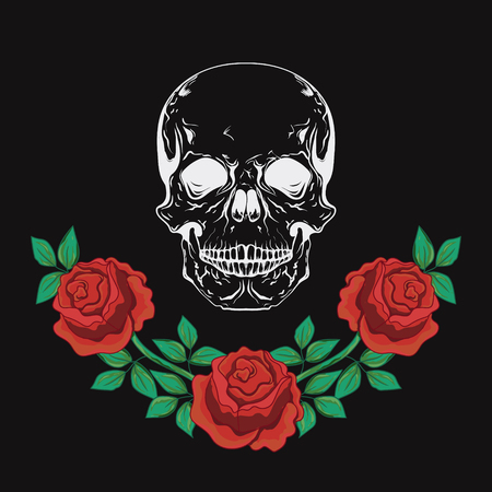 Graphic design with skull and roses. Ilustrace