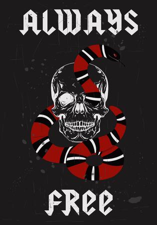 Skull and snake illustration.
