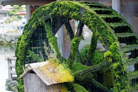 waterwheel: waterwheel covered in moss with falling water Stock Photo
