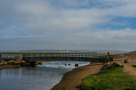 foot bridges: wooden bridge over a water