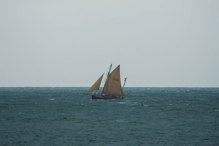 english channel: A yacht sailing  on the English Channel - old yawl