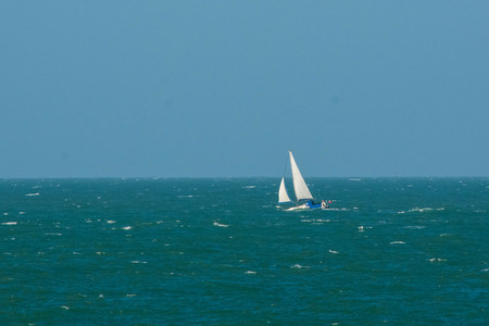 english channel: A yacht sailing  on the English Channel Stock Photo