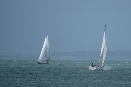 english channel: A yachts sailing  on the English Channel