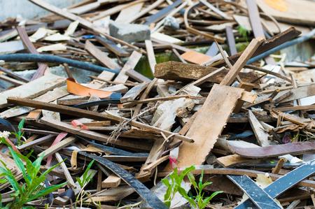 metal scrap: Pile of wooden and metal scrap