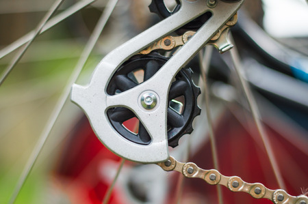 shifting: Closeup of a bicycle gear shifting mechanism