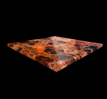 healthfulness: View of an Obsidian Plate on a Black Background Stock Photo