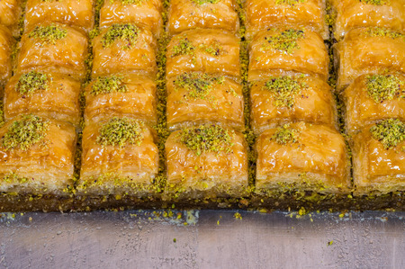 Closeup of delicious traditional Turkish Ramadan dessert