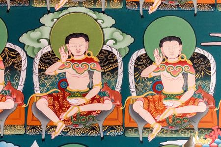 Punakha, Bhutan - September 11, 2016: Traditional Bhutanese temple mural in Bhutan. Religious art on the wall inside a Dzong. Editorial