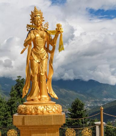 Golden statue of Buddhist female god at Buddha Dordenma temple, Kuensel Phodrang Nature Park, Thimphu, Bhutan, Asia