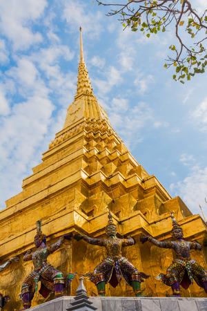 Golden Chedi of Wat Phra Kaew, the Temple of the Emerald Buddha, Bangkok, Thailand. Stock Photo
