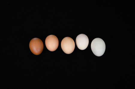 Five fresh organic hen eggs on black felt background.