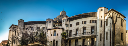 Panoramic view of historical building in Beyoglu district of Istanbul, Turkey Stock Photo
