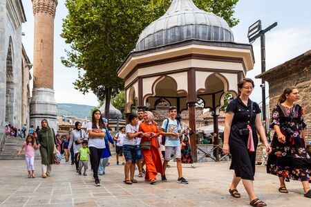 Bursa, Turkey - August 14, 2018: Bursa Grand Mosque (Ulu Camii), the largest mosque in Bursa and a landmark of early Ottoman architecture which used many elements from the Seljuk architecture.