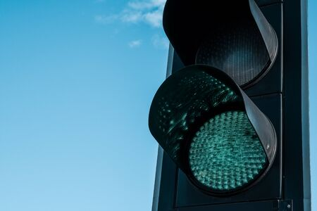Close up of a green traffic light on the highway in Istanbul, Turkey.