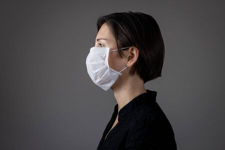 Brunette woman wearing hygienic mask to prevent infection, airborne respiratory illness such as flu