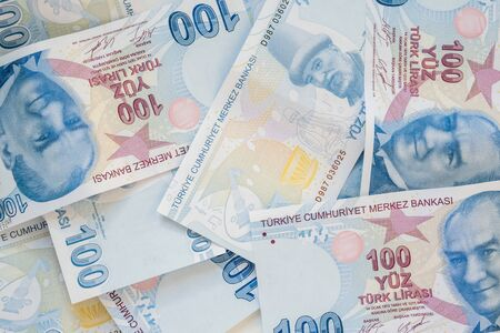 Close up of 100 Turkish Lira (TRY) banknote currency background. Money growth and deposit accumulation concept.