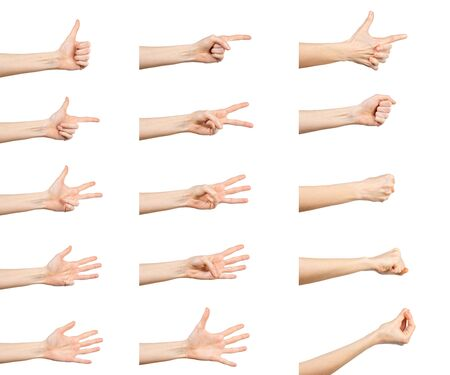 Multiple Caucasian female  hand gestures isolated over white background, set of multiple images. Stok Fotoğraf