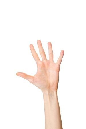 Young Caucasian female left hand, palm facing camera showing number 5. Give me five gesture. Stok Fotoğraf