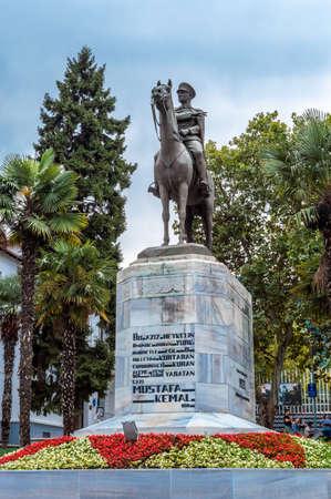Bursa, Turkey - August 14, 2019: Bronze memorial statue of Mustafa Kemal Ataturk, the founder of modern Turkish Republic, successor of the Ottoman Empire in Bursa, Turkey. Editöryel