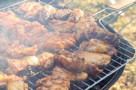 Close up of delicious and juicy chicken meat being cooked on a charcoal barbeque grill. Tasty snack party. Stok Fotoğraf
