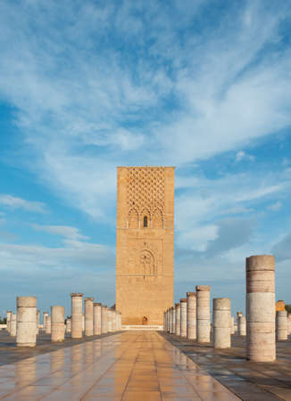 Hassan Tower or Tour Hassan, the minaret of an incomplete mosque in Rabat, Morocco. The tower was intended to be the largest minaret in the world along with the mosque.