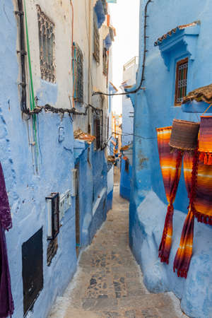 Typical Moroccan architecture and exotic streets in Chefchaouen, blue city in Morocco