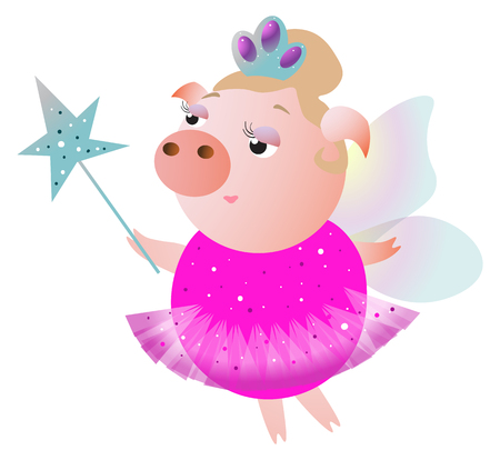 Lovely fairy pig with wings, diadem and magic wand. Vector illustration.  Isolated on transparent background.  Excellent for the design of postcards, posters, stickers and so on.
