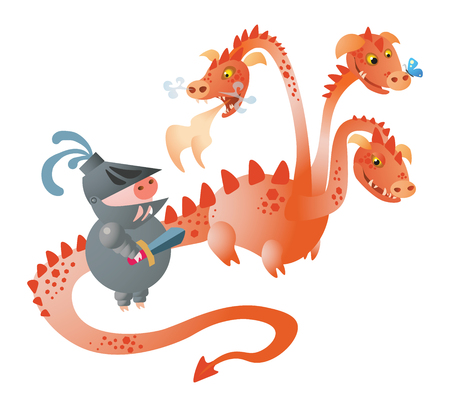 A  funny 3-heads dragon and pig knight with a sword. Vector illustration. Isolated on transparent background. Excellent for the design of postcards, posters, stickers and so on. Ilustrace