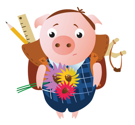 Cute sad pupil pig  with a backpack and flowers.  Vector illustration. Isolated on transparent background.  Excellent for the design of postcards, posters, stickers and so on. Illusztráció