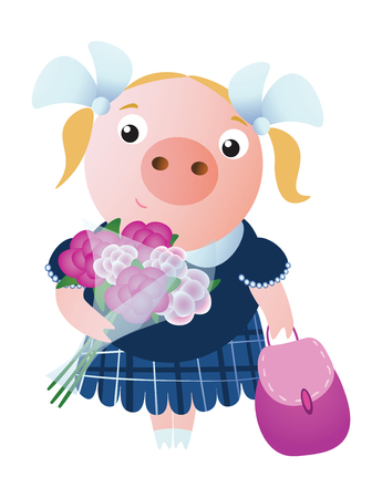 A lovely smiling schoolgirl pig  with a backpack and bouquet of flowers.  Vector illustration.  Isolated on transparent background.  Excellent for the design of postcards, posters, stickers and so on.