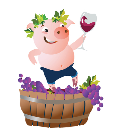 The happy pig presses down the grapes and drinks wine. Vector illustration.  Isolated on transparent background.  Excellent for the design of postcards, posters, stickers and so on. Illusztráció