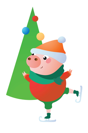 Cute Pig is skating. He is in a red cardigan and with a green scarf. Vector illustration.  Isolated on transparent background.  Excellent for the design of postcards, posters, stickers and so on. Illusztráció