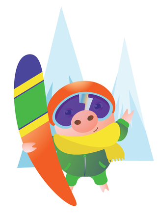 Cute Pig with a snowboard, a helmet,and yellow scarf. Vector illustration.  Isolated on transparent background.  Excellent for the design of postcards, posters, stickers and so on. Illusztráció