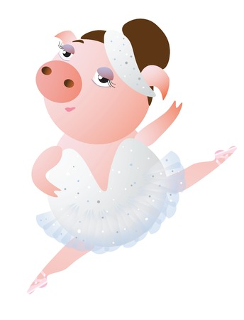 Lovely dancing piglet in a ballet tutu.