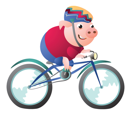 Pig character riding a bicycle with bike helmet