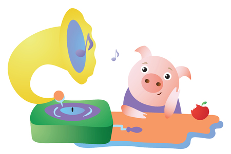 Cute pig listens to the gramophone and dreams