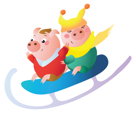 A Funny piglets on a  big sled.