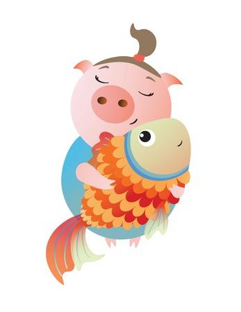 Zodiac pig Pisces. Chinese horoscope symbol 2019 year.