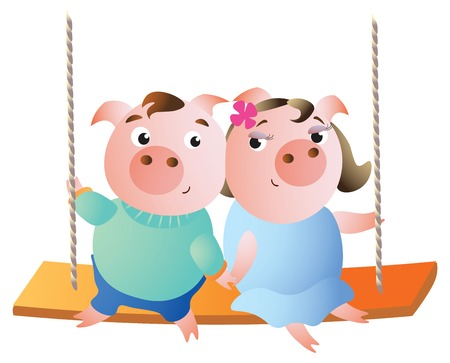 A pair of pigs in love on a swing. Vector illustration. Isolated on transparent background. Excellent for the design of postcards, posters, stickers etc.
