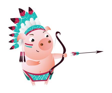 Zodiac pig Sagittarius. Chinese horoscope symbol 2019 year.