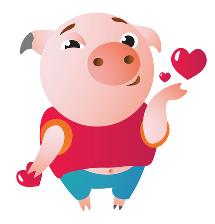 Cute piglet sending air kiss. Vector illustration.