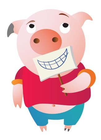 A tired pig is pretending. Holding a fake smile.