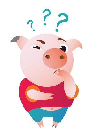 Cartoon pig stands and looks at us questioningly.