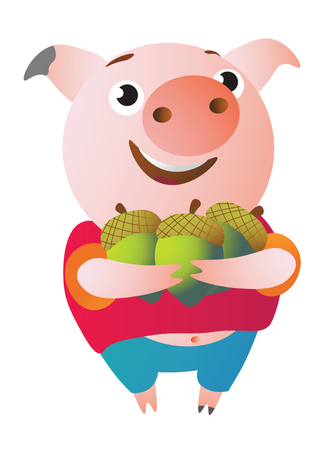The pig is happy because she has many acorns. Illusztráció