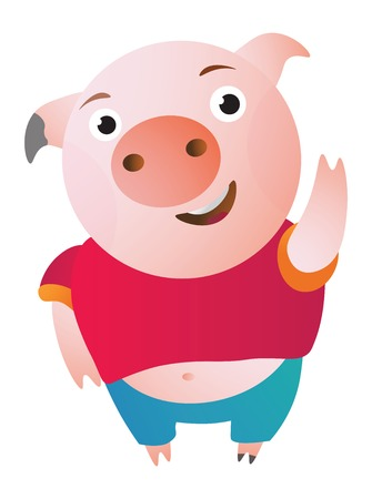 Cartoon Pig says hi, waving and shy.