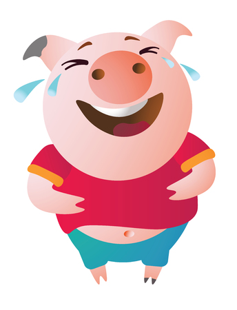 Emoji character Pig laughs to tears