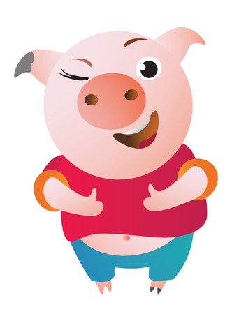 Cartoon Pig approves with thumb up and winks.
