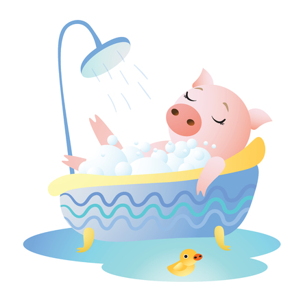 Piggy taking a bath with foam and rubber duck