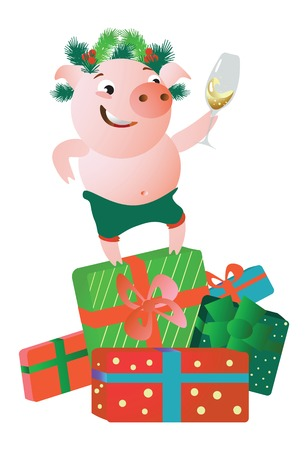 A pig standing on gift boxes and giving a speech